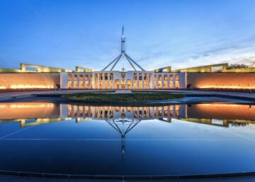 Image of Canberra's Parliament House at dawn