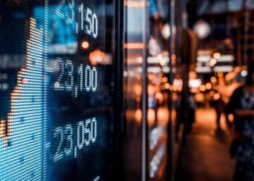 Financial stock exchange market display screen board on the street