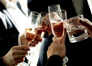 Business people celebrating at a work event
