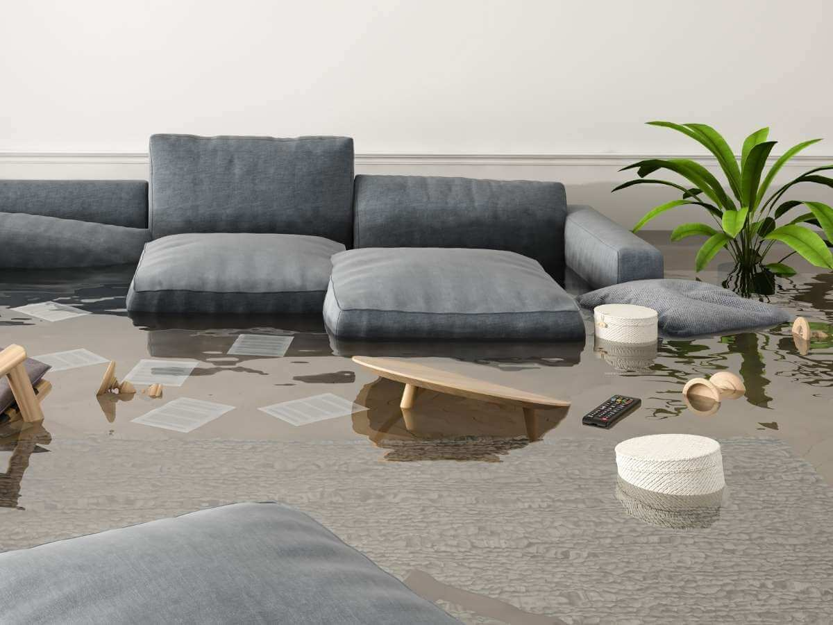 A flooded living room in a modern apartment